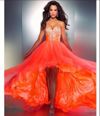 orange dress gold and silver short front long back