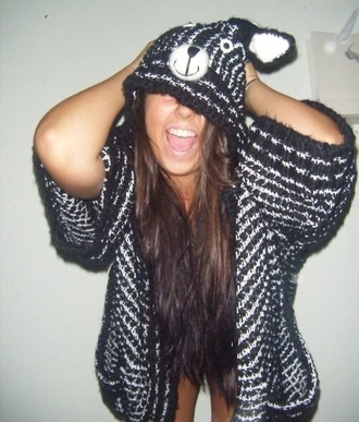 cardigan animal hood short sleeve