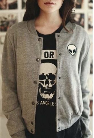jacket girl girly girly wishlist alien grey cardigan cool long sleeves fashion style trendy fall outfits teenagers beautifulhalo