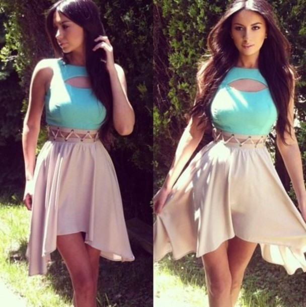 dress mint cut out dress pastel nude