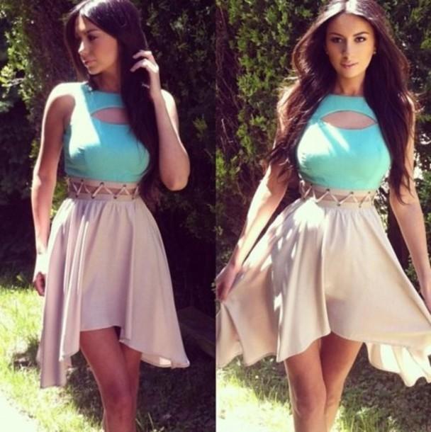 dress mint cut-out dress pastel nude