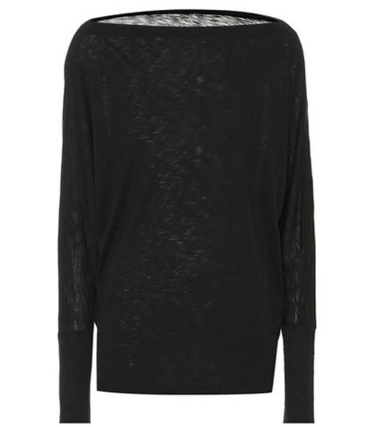 Velvet Cotton-blend top in black