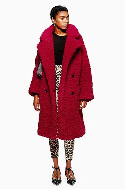 TopShop Big Borg Coat - Red