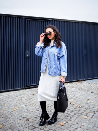 samieze blogger dress jacket shoes sunglasses denim jacket handbag ankle boots knitted dress fall outfits white knit dress