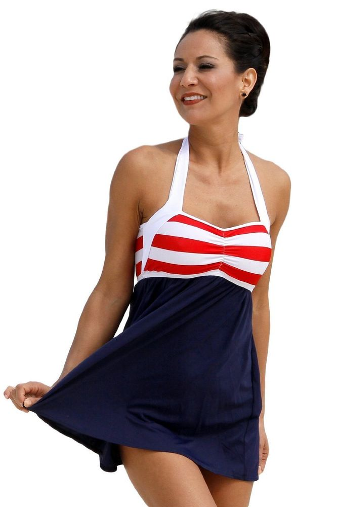 UjENA Sailor Girl Swim Dress Tankini Swimsuit Swimwear | eBay
