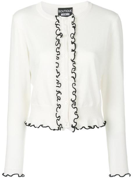 BOUTIQUE MOSCHINO cardigan cardigan ruffle women white wool sweater