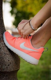 shoes,fitness,nike roshe run,peach,women's,roshe runs,sneakers,colorful
