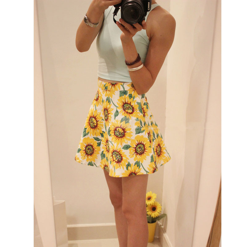 HOT Lady Sunflower Print Denim Shorts Skirt Women Dress UK Size 6 8 10 12 14 | eBay