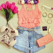 shirt,beautiful,summer,cute,outfit,perfect,girl,glasses,watch,earrings,purse,shoes,heels,pink,shorts,jeans,flowers,bracelets,necklace,sunglasses,tank top,beige,beige shoes,high heels,coral,bag,t-shirt,denim,jewels,jacket,pink lacy,High waisted shorts,lace,blouse,jewelry,belt,florwers,summer outfits,handbag,pretty outfit,lace shorts ruffles top,crop tops,scarf,light pink purse,white high heels,pretty,top,singlet,peach,wallet,headband,summer shirts,pumps,denim shorts,pink top,lace top,clutch,nude heels
