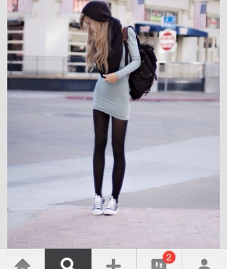 scarf hat dress grey winter sweater winter dress winter boots paris fashion fall sweater fall outfits fall dress spring dress girly tights bag