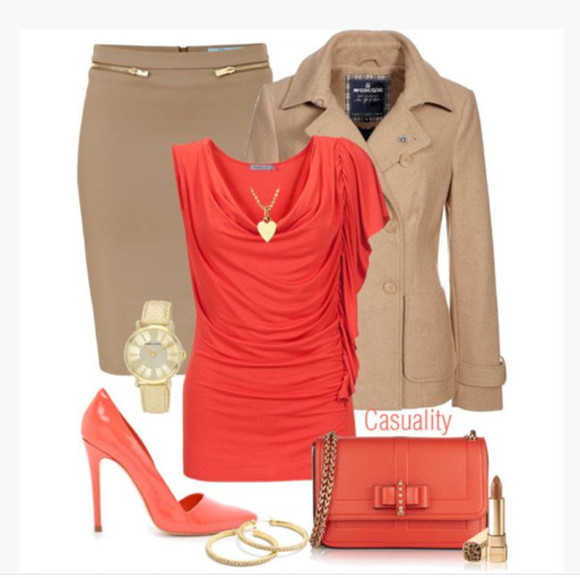 skirt shirt salmon jacket clothes earrings purse high heels top watch short sleeves outfit scoop neck draped top pencil skirt coat tope stilettos clutch soft brown necklace