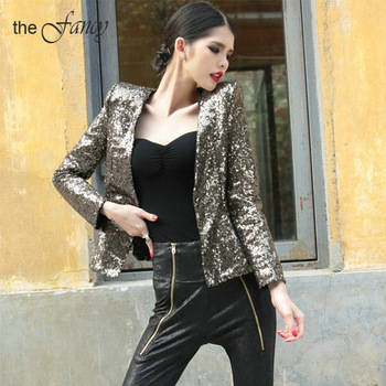 Sequin Jacket Blazer Shine Gold Sparkle Slim Black Club Party ...