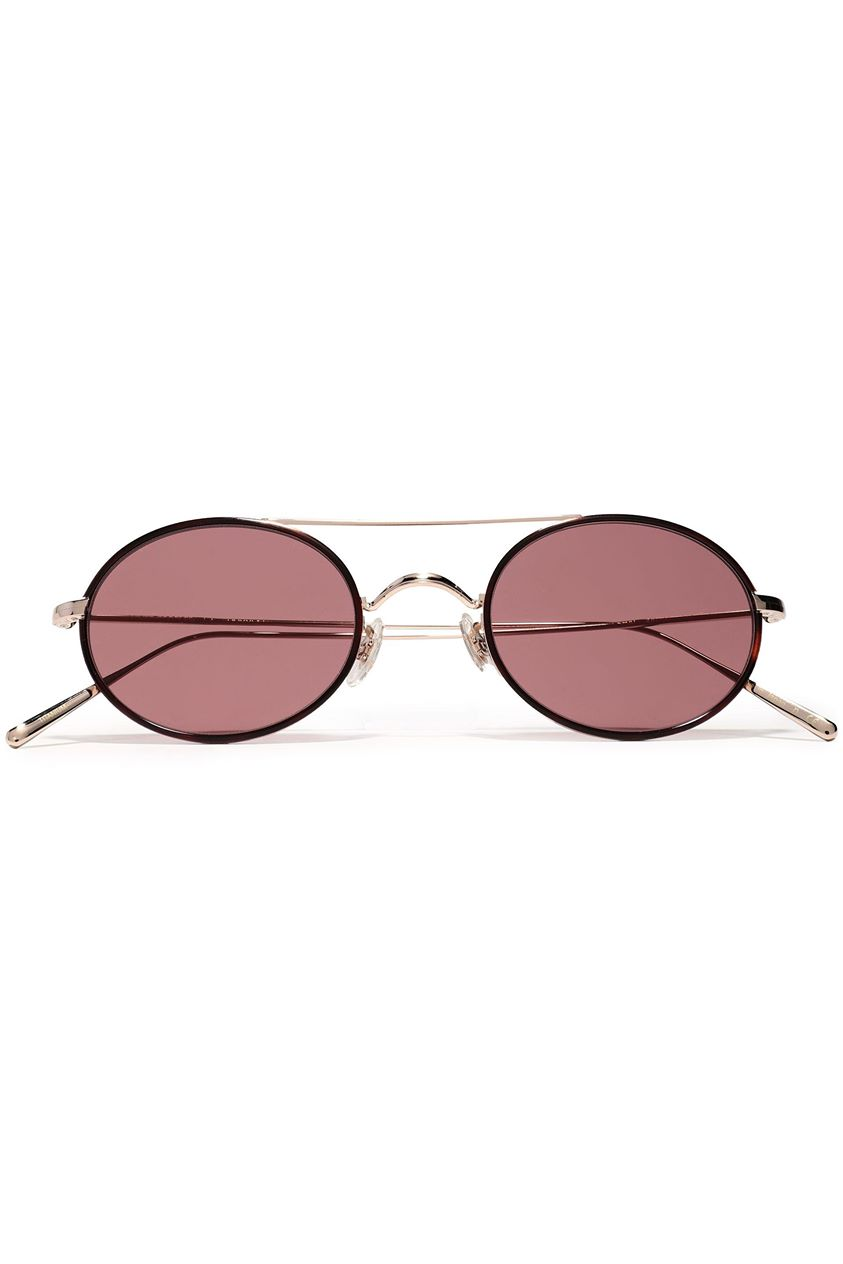 Oliver Peoples Woman Round-frame Gold-tone Sunglasses Brick Size --