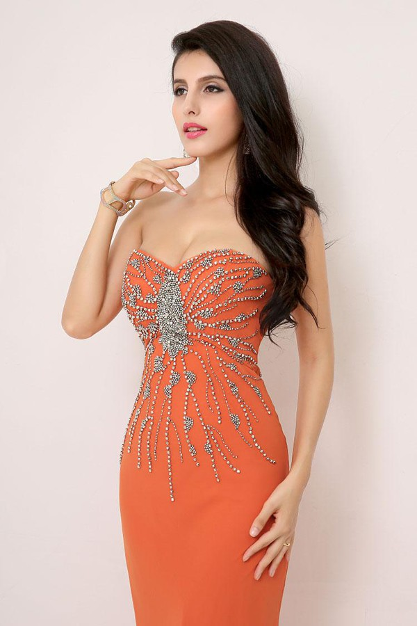 orange dress beaded dress prom dress 2014 dress strapless dress evening dress sale dress cheap dress dress