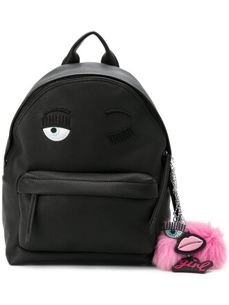 eyes women backpack leather black bag