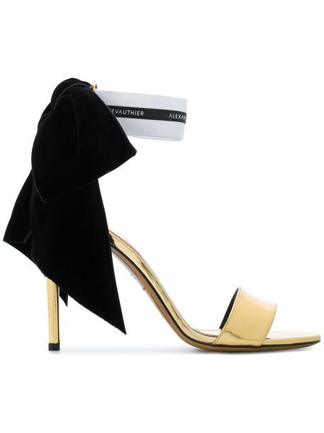 alexandre vauthier women sandals leather velvet grey metallic shoes