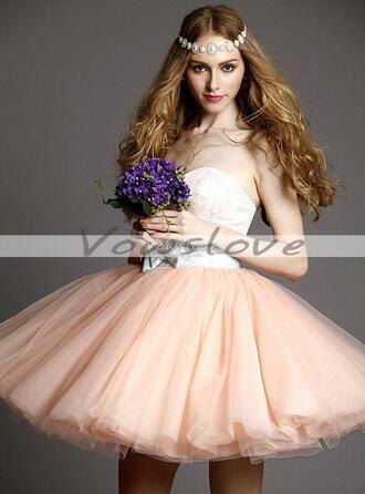 pink dress homecoming dress short prom dress pink ball gown blush pink dress vowslove.com