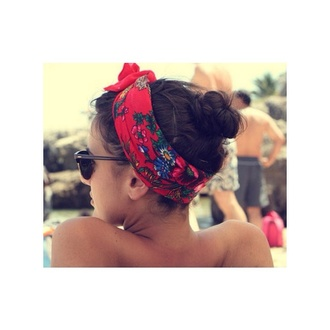sunshine beach jewels sunglasses red tumblr headband brunnette floral colorful swimwear summer outfits headwrap tan