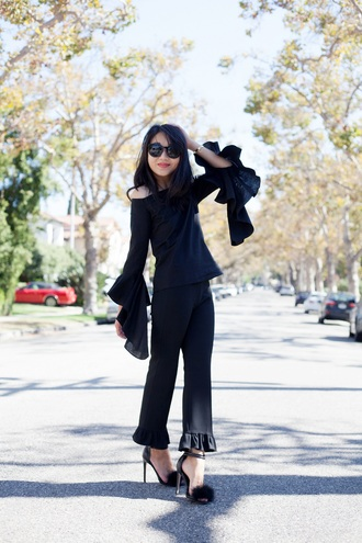 posh classy mom – a lifestyle blog by sheree blogger bag shoes sunglasses bell sleeves black top long sleeves black pants wide-leg pants off the shoulder black heels round sunglasses all black everything