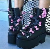shoes,platform shoes,black platforms,pastel goth,floral