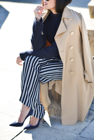 pants tumblr stripes striped pants pumps pointed toe pumps high heel pumps blue heels sweater blue sweater dark blue coat camel camel coat work outfits office outfits