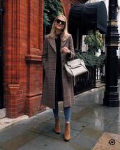 coat,wool coat,checkered,ankle boots,suede boots,jeans,skinny jeans,blouse,sunglasses,handbag
