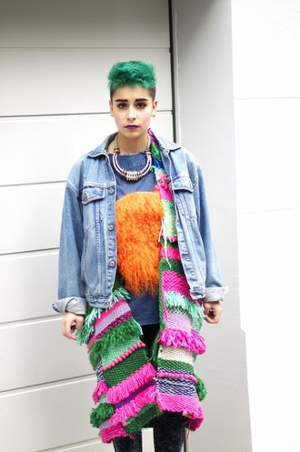 let's get flashy blogger punk colorful jacket jeans shirt sweater shoes make-up
