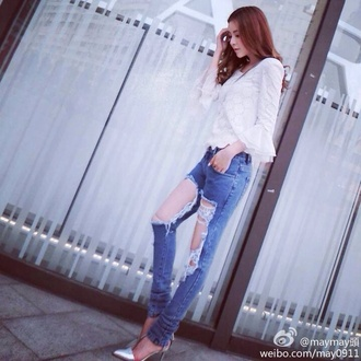 jeans boyfriend jeans ripped jeans ripped skinny jeans ripped floral fashion asian fashion asian design white high heels valentino silver shoes style jacket romper party short