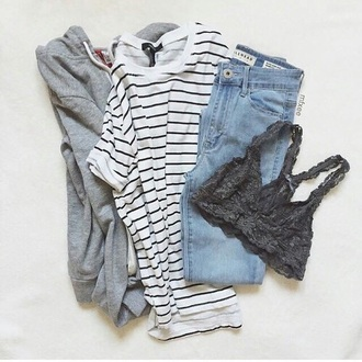 pants jeans boyfriend blue ripped lace grey t-shirt stripes black white jacket grey zip up bralette shirt striped top black and white