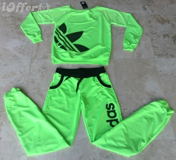 Adidas Neon Color Women Tracksuit Sweatsuit Neon GREEN - Athletic Apparel