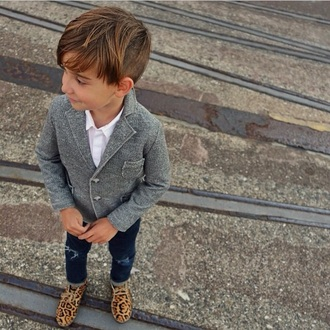 jacket denim blazer grey jeans leopard print shoes loafers swag style kids fashion blazer destroyed skinny jeans leopard print kids with swag button up blouse button up shirt button up