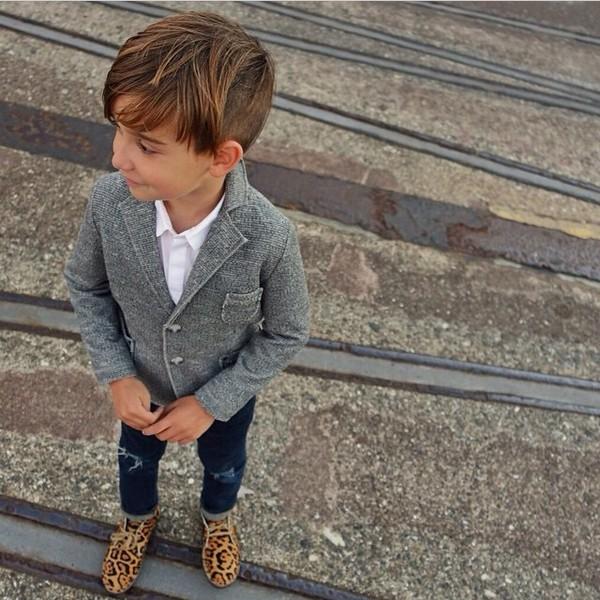 Jacket: denim blazer, grey, jeans, leopard print shoes, loafers ...