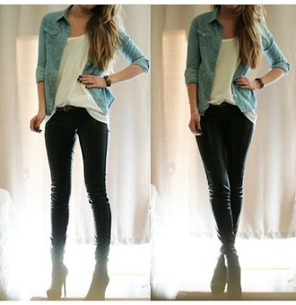 jacket denim denim jacket light blue white loose tank black skinny jeans