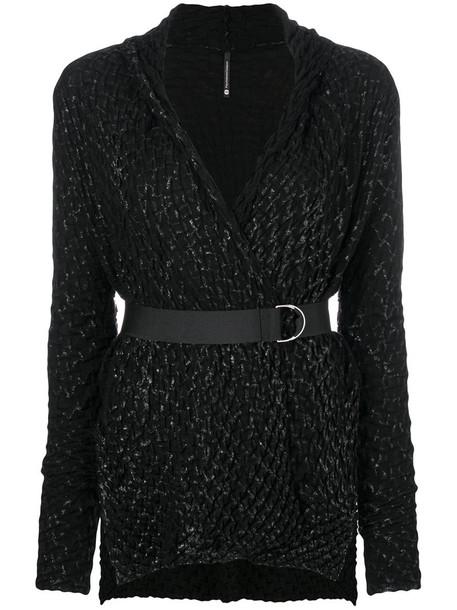 Pierantoniogaspari - belted textured cardigan - women - Virgin Wool - 42, Black, Virgin Wool