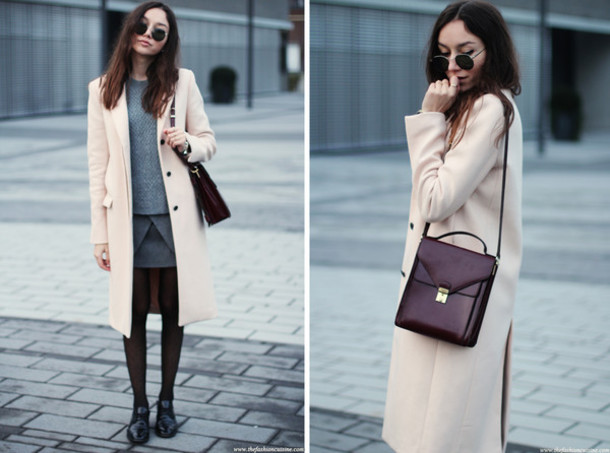 the fashion cuisine blogger grey skirt oxfords plum leather bag winter outfits classy winter coat coat sweater skirt tights bag jewels