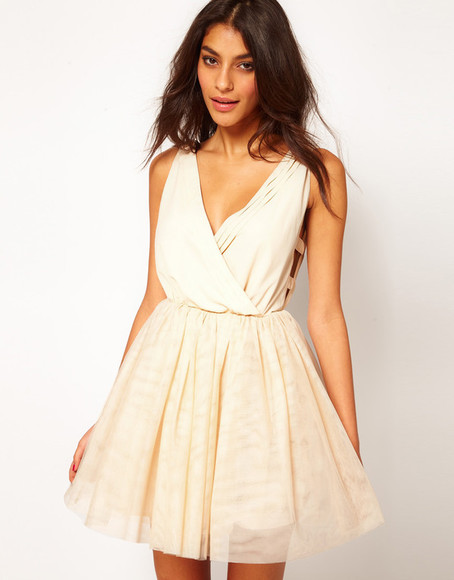 dress asos prom dress cream dress