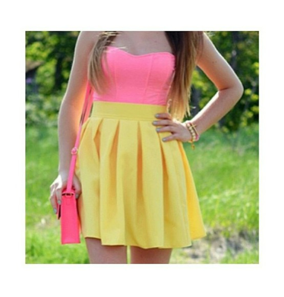 dress pleated dress neon pink neon yellow bustier dress