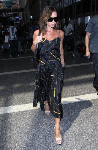 blogger sunglasses blouse pleated skirt midi skirt sandals victoria beckham two piece dress set two-piece tank top summer outfits summer top black midi dress