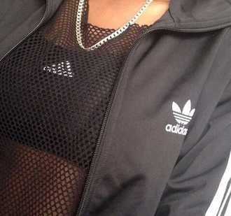 jacket adidas zip up sweater black and white adidas jacket adidas sweater zip up sweater blouse adidas sheer jewels top mesh see through top grunge dark chain pale sportswear black top white top gold necklace sports bra shirt fashion crop tops mesh top grey adidas training suit aesthetic black