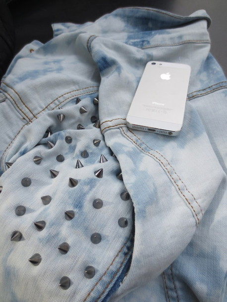 jacket iphone denim jacket studs blue dress dip dyed