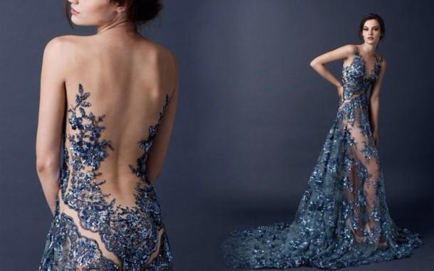 dress prom dress see through dress blue dress blue long dress sleeveless dress formal dress