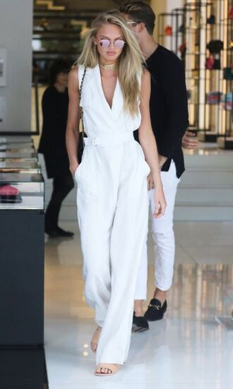 jumpsuit romee strijd model off-duty pants top jumspuit white jumpsuit wide-leg pants party outfits sexy outfit summer outfits spring outfits fall outfits winter outfits classy elegant cute girly celebrity celebrity style celebstyle for less clubwera clubwear date outfit wedding clothes wedding guest