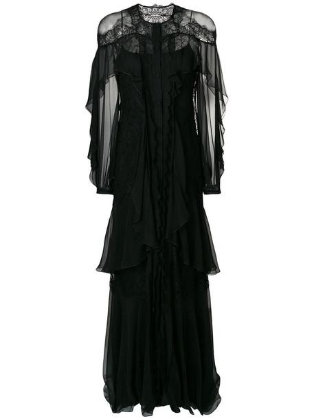 gown women lace black silk dress