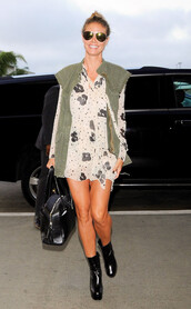 dress,heidi klum,boots,mini dress,chiffon dress,chloe,leopard print,chic