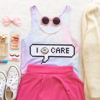 top donut skater skirt singlet sunglasses tumblr outfit i donut care blouse