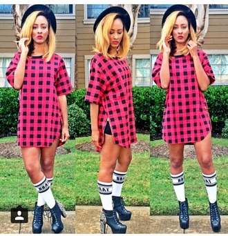 shirt t-shirt top hat boots socks style high heels cute high heels cute top accessories checkered outfit shorts black heels fashion shoes