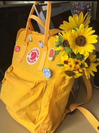 bag girly yellow backpack fjallraven kanken tumblr