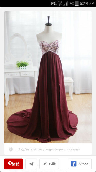 prom dress burgundy sparkle dress
