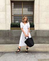 shoes,espadrille sandals,dress,white dress,long dress,shoesbag,bag