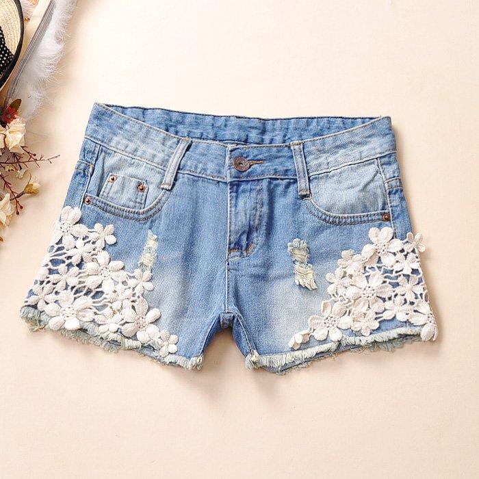 2013 spring fashion vintage crochet distrressed denim shorts hot trousers 302k882